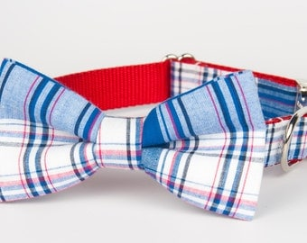Americana Plaid Bow Tie Collar