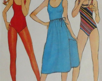Uncut Vintage 1970s John Kloss Swimsuit & Skirt Pattern Bust 34 Butterick 6539
