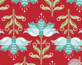 140125686 - Apple of My Eye - Teal Flowers Quilting Cotton Fabric - Sold by the yard