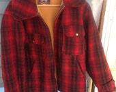 Original Mens Vintage 1950's Woolrich Red Plaid Coat