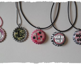 Clearance Your Choice Of Initial L Bottlecap Necklace Pick your Style