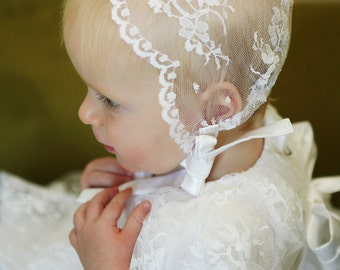 Lace Baptism Bonnet- white- blessing bonnet- christening bonnet- chantilly lace- 0-12mo- Emily Bonnet