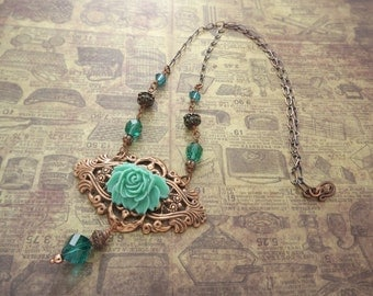 Victorian Teal Green Carnation on Filigree Necklace