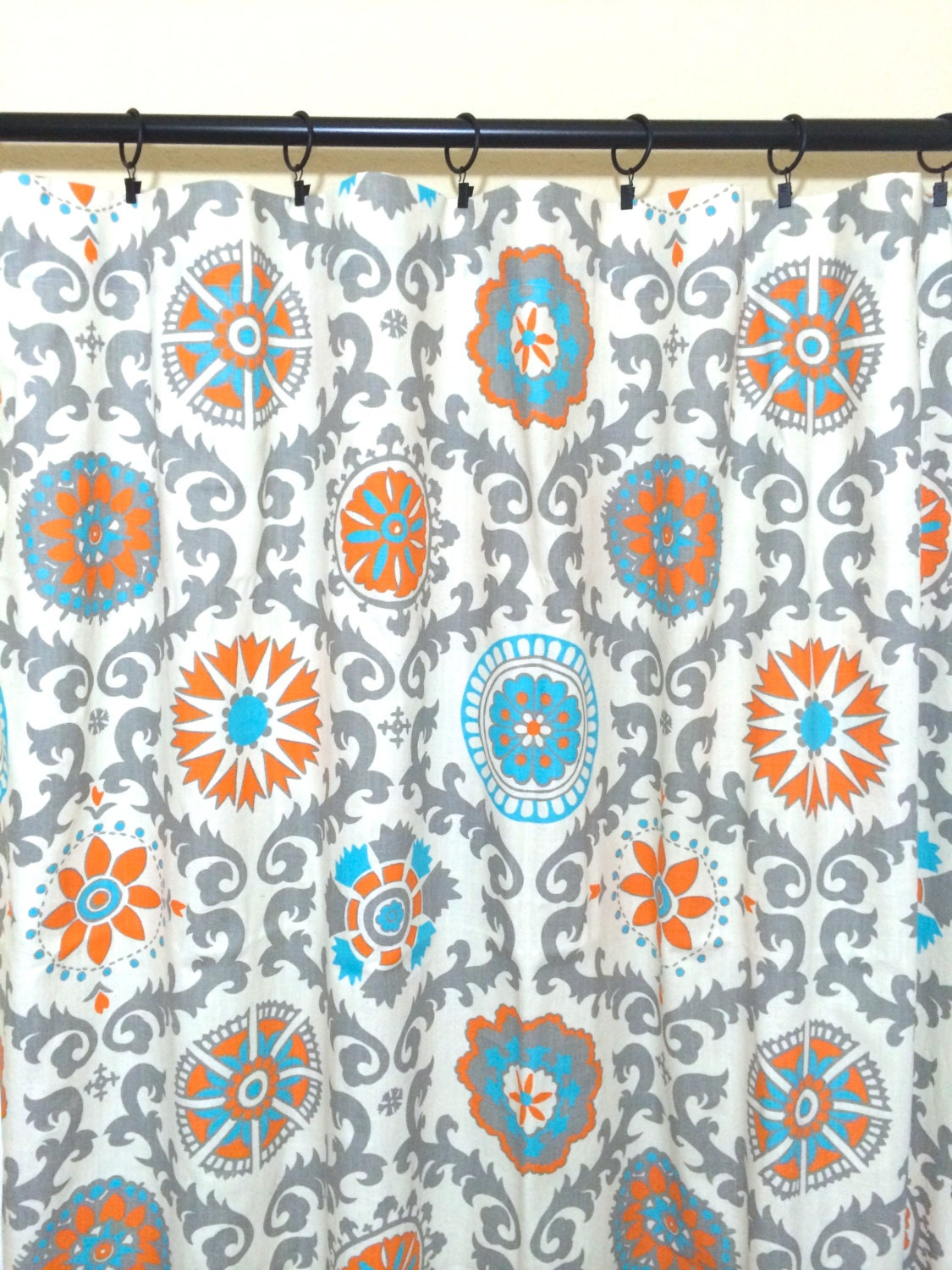 Orange And Turquoise Suzani Curtain Panels 25 Or 50 Inch