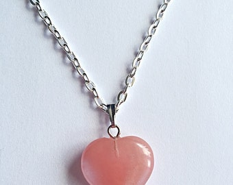 Heart Necklace - Cherry Quartz Pendant - Quartz Necklace - Gemstone Necklace - Quartz Jewelry - Gemstone Jewelry - Gift For Her - Romantic