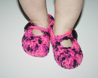 Mary Janes for Infant Hot Pink and Black Baby Shower gift- Photo Prop