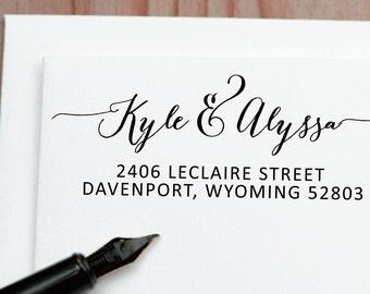 Return Address Stamp, Personalized Self Inking Address Stamp, Custom Calligraphy Wedding Stamp, Personalized Stamp 185