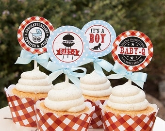 BBQ Baby Shower Decorations, Baby Q Cupcake Toppers, Couples Baby Shower, Personalized, Printable Pdf File