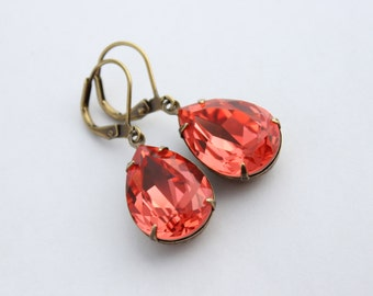 Swarovski Padparadscha earrings, dark peach earrings, Swarovski earrings, bridal earrings, bridesmaid earrings, pink earrings, Spring  PS04