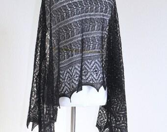 Black knit shawl, black lace, event shawl, black shawl merino wool silk gift for her