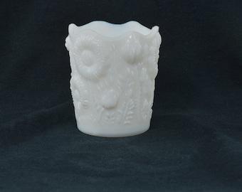 Milk glass Sunflower Toothpick holder