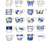 Blue and White China Pattern Teacups Collage Antique - Giclee Print of Watercolor Painting - Chinoiserie Delft Copenhagen Tea Gift for Her