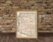 Arizona map - Old map of Arizona fine print