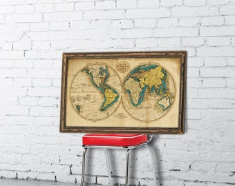 World map  - Map of the world  - Wall decor -Giclee premium print