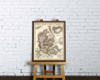 Map of Denmark, Holstein, Mecklenburg -  Giclee archival print - Old map restored