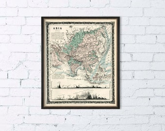 """Asia  map  - Old map of Asia fine print -  16 x 19 """""""