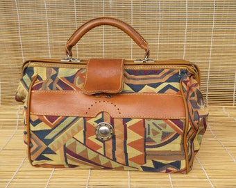 Vintage Lady's Colourful Textile And Brown Faux Leather Hand Bag Purse Doctor's Bag