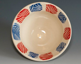 Red & Blue Bowl, Hand Painted Bowl, Handmade Pottery, Small Stoneware Bowl, Wheel Thrown Stoneware Pottery, Handmade Soup Bowl, Pottery Bowl