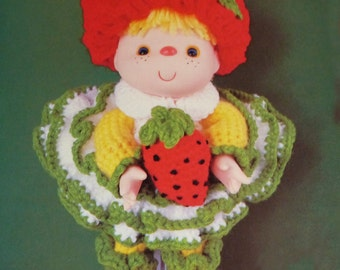 "Instant Download PDF Vintage Eighties 14"" Strawberry Jam Doll Crochet Pattern"