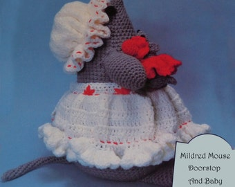 Instant Download PDF Vintage Eighties Mildred Mouse Doorstop and Baby Crochet Pattern