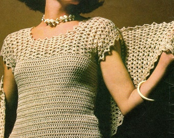 Instant Download PDF Vintage Seventies Crochet Shawl and Shell Blouse Pattern