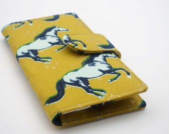 Mustang Wallet, Womens Clutch Wallet,  Vegan Wallet,  Mustard and Navy