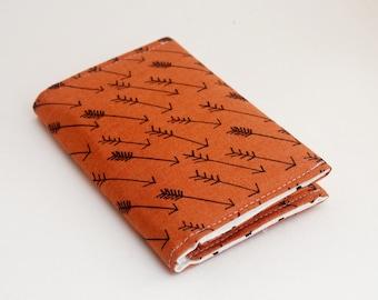 Business Card Holder, Fabric Card Case, Small Wallet, Orange, Arrow Print