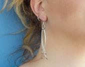 Silver shiny metal dangle sterling silver earrings - summer, resort - minimalist, modern