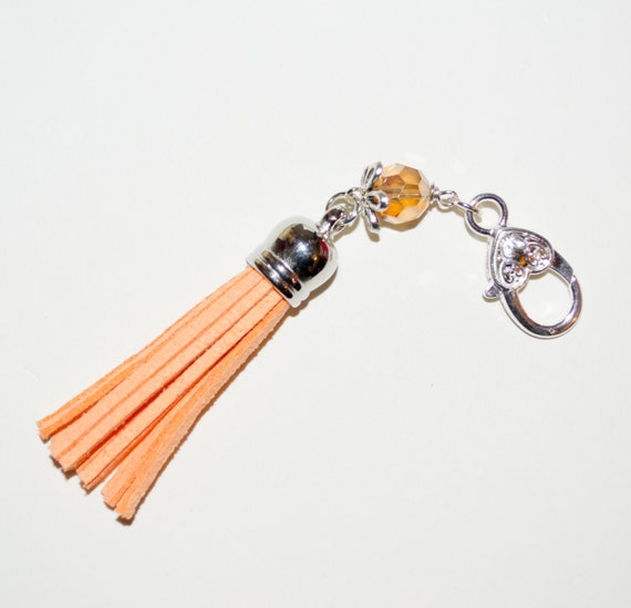 Orange Tassel Keyring, Boho Tassel Charm, Purse Clip, Bag Charm, Tassel Zip Pull, Tassel Key Charm, Zipper Pull, Purse Charm, Boho Bag Charm