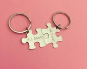Beauty and the Beast, Couples Keychain, His Hers keychains, Couples Gift, Puzzle Keychains, Valentines Day Gift, Unique Keychains