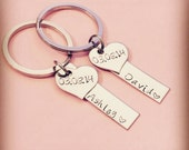 Custom Wedding Gift, Anniversary gift, Couple Keychain, Name Keychains, Bar Keychains, Heart Date keychains,Personalized Gift for couples