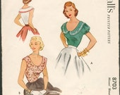 Pretty Vintage 1950s McCall's 8703 Scoop Neck Sleeveless or Puff Sleeve Blouse Sewing Pattern B34