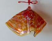 Hand Blown Glass Ornament -Orange, Pink and Gold Swirl Free Form - Bell - Holiday - Christmas or Suncatcher -- by Jonathan Winfisky