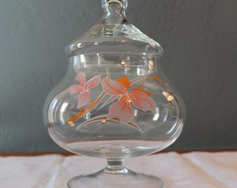 Footed Apothecary Jar With Lid Clear Glass Storage Candy Dish