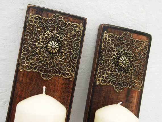 Pair Of Decorative Wooden Wall Sconces Candle by RegalosRusticos