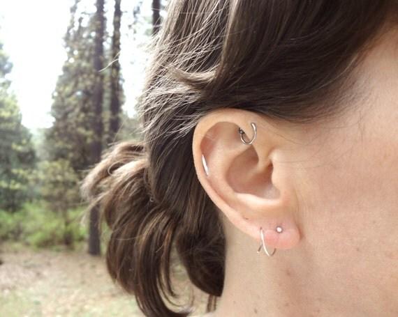 Sterling silver double threader hoop earrings for 2