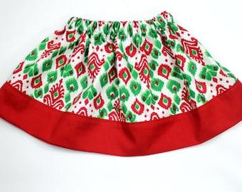 Christmas Ikat Tribal Print Toddler or Girls size Skirt