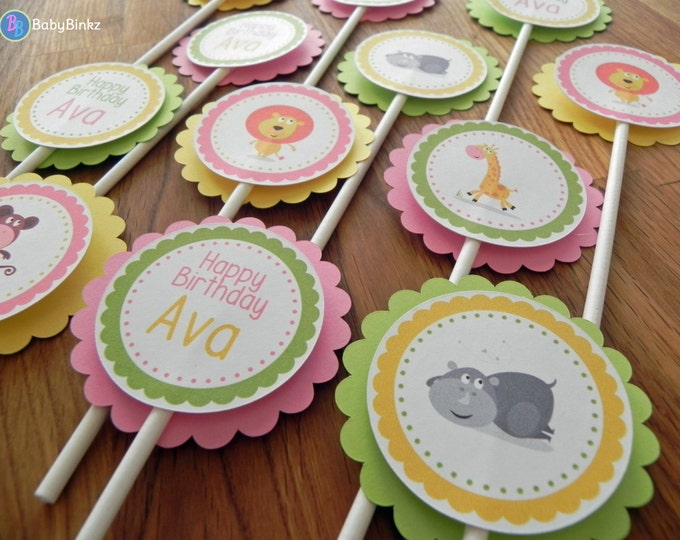 Cupcake Toppers: Pink, Green & Yellow Jungle Animals - Girl Baby Shower or birthday party decorations monkey giraffe lion hippopotamus
