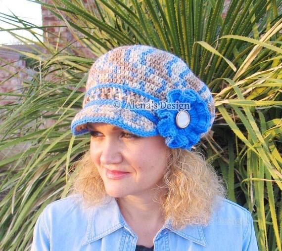 Crochet Pattern 071 - Newsboy Hat - Mirage - Visor Slouchy Hat Toddler Child Teen Adult Beret Spring Autumn Girls Boys Ladies Men Unisex