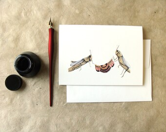 Quilted Helpers: The Grasshoppers // Greeting Card - Forest Illustration