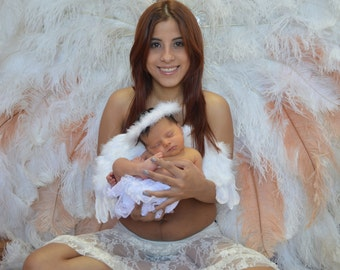 Photo Prop Christmas Cupid Feather Angel Wings Includes Free Halo READY TO SHIP