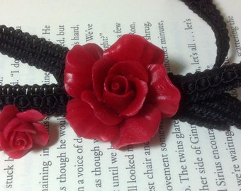 Jewelry Set - Lace Rose Choker and Pierced Red Rose Stud Earrings