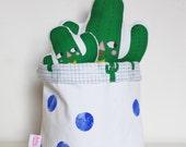 Fabric Storage bucket bag - Cactus Boy