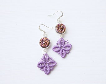Faux Druzy and Purple Lace Earrings