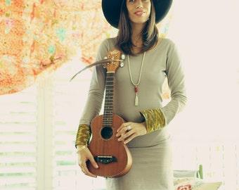 SALE Bohemian dress, Long sleeves dress, Open back dress, Grey tunic dress, Jersey dress