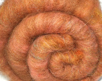 Carded batt for spinning or felting - PEACH SEASON - Drum carded mixed fiber batt, 2.0 ounces