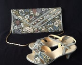 UK 5.5 Vintage 1980s grey tapestry sandals and matching convertible clutch bag EU 38.5 US 7.5