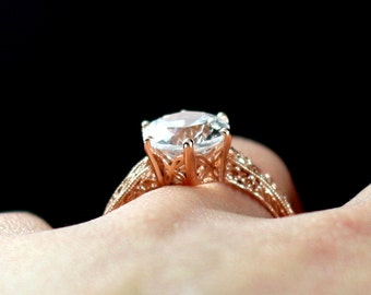 Moissanite Engagement Ring Filigree Miligrain Bia 3ct 9mm custom size White-Yellow-Rose gold 10k-14k-18k-platinum
