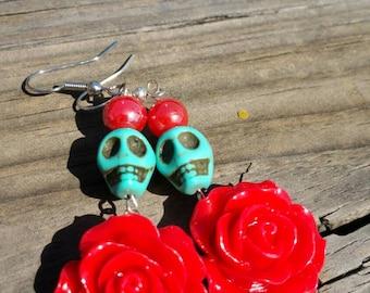 Day of the Dead sugar skull earrings