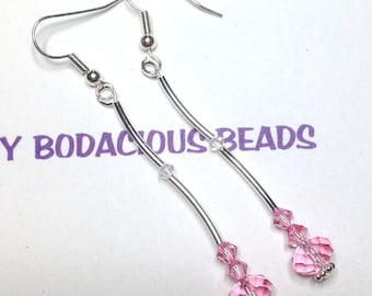 """Handmade 2.75""""   Pink CRYSTAL LONG  Dangle EARRINGS  Swarovski and Silver Accents and Wires"""
